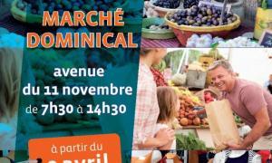 Marché dominical  : le 9 avril : avenue du 11 novembre